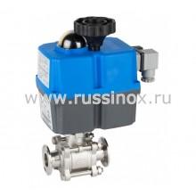 Кран шаровый нержавеющий кламп-соединение AISI 304/316 с электроприводом