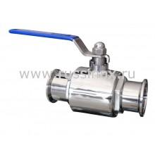 Кран шаровый нержавеющий молочный полнопроходной кламп-соединение AISI 304/316