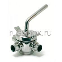 Кран нержавеющий пробковый 3-х ходовой молочный приварной AISI 304/316