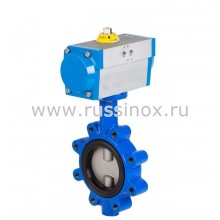 Затвор дисковый поворотный фланцевый с диском из нержавеющей стали AISI 304/316 с пневмоприводом в алюм.корпусе