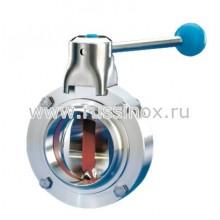 Затвор дисковый молочный нержавеющий приварной AISI 304/316