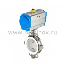 Затвор нержавеющий AISI 304/316 дисковый поворотный межфланцевый с пневмоприводом в алюм.корпусе