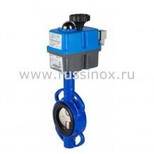 Затвор дисковый поворотный межфланцевый с диском из нержавеющей стали AISI 304/316 с электроприводом